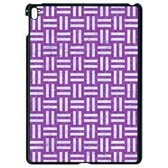 Woven1 White Marble & Purple Denim Apple Ipad Pro 9 7   Black Seamless Case