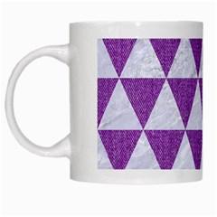 Triangle3 White Marble & Purple Denim White Mugs