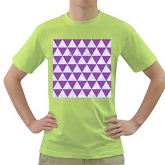 Triangle3 White Marble & Purple Denim Green T Shirt by trendistuff