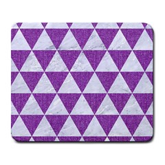 Triangle3 White Marble & Purple Denim Large Mousepads