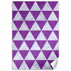 Triangle3 White Marble & Purple Denim Canvas 12  X 18