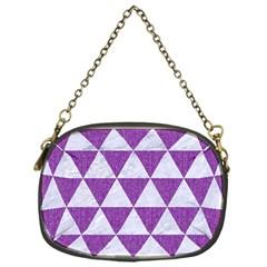 Triangle3 White Marble & Purple Denim Chain Purses (one Side)