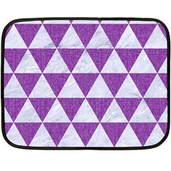 Triangle3 White Marble & Purple Denim Double Sided Fleece Blanket (mini)