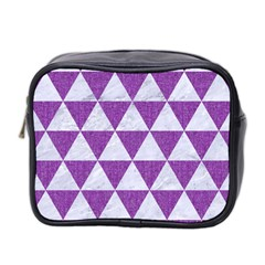 Triangle3 White Marble & Purple Denim Mini Toiletries Bag 2 Side