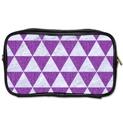Triangle3 White Marble & Purple Denim Toiletries Bags 2 Side