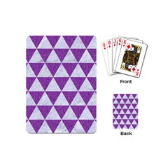 Triangle3 White Marble & Purple Denim Playing Cards (mini)  by trendistuff