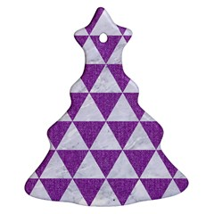 Triangle3 White Marble & Purple Denim Christmas Tree Ornament (two Sides)