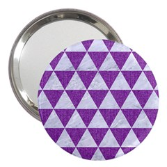 Triangle3 White Marble & Purple Denim 3  Handbag Mirrors