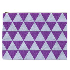 Triangle3 White Marble & Purple Denim Cosmetic Bag (xxl)