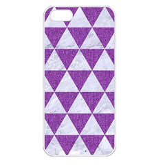 Triangle3 White Marble & Purple Denim Apple Iphone 5 Seamless Case (white)