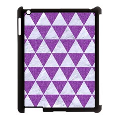 Triangle3 White Marble & Purple Denim Apple Ipad 3/4 Case (black)