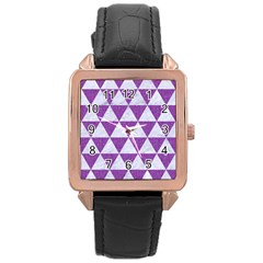 Triangle3 White Marble & Purple Denim Rose Gold Leather Watch
