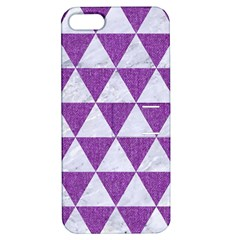 Triangle3 White Marble & Purple Denim Apple Iphone 5 Hardshell Case With Stand