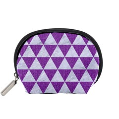 Triangle3 White Marble & Purple Denim Accessory Pouches (small)