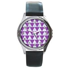 Triangle2 White Marble & Purple Denim Round Metal Watch