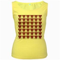 Triangle2 White Marble & Purple Denim Women s Yellow Tank Top