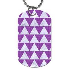 Triangle2 White Marble & Purple Denim Dog Tag (two Sides)