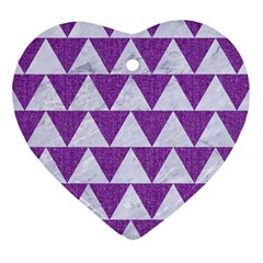 Triangle2 White Marble & Purple Denim Heart Ornament (two Sides)