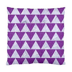 Triangle2 White Marble & Purple Denim Standard Cushion Case (two Sides)