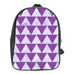 Triangle2 White Marble & Purple Denim School Bag (large)