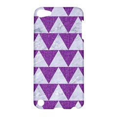 Triangle2 White Marble & Purple Denim Apple Ipod Touch 5 Hardshell Case by trendistuff
