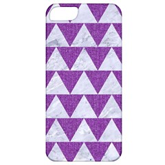 Triangle2 White Marble & Purple Denim Apple Iphone 5 Classic Hardshell Case