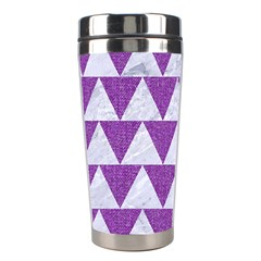 Triangle2 White Marble & Purple Denim Stainless Steel Travel Tumblers