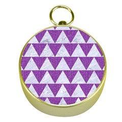 Triangle2 White Marble & Purple Denim Gold Compasses