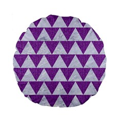Triangle2 White Marble & Purple Denim Standard 15  Premium Flano Round Cushions
