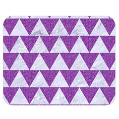 Triangle2 White Marble & Purple Denim Double Sided Flano Blanket (medium)  by trendistuff