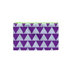Triangle2 White Marble & Purple Denim Cosmetic Bag (xs)