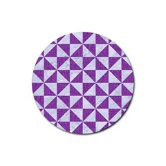 Triangle1 White Marble & Purple Denim Rubber Round Coaster (4 Pack)  by trendistuff