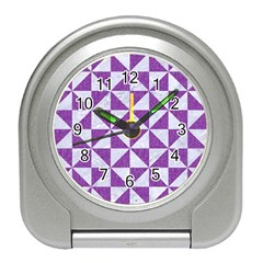 Triangle1 White Marble & Purple Denim Travel Alarm Clocks