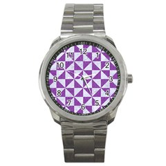 Triangle1 White Marble & Purple Denim Sport Metal Watch by trendistuff