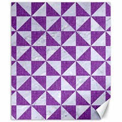 Triangle1 White Marble & Purple Denim Canvas 20  X 24