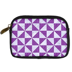 Triangle1 White Marble & Purple Denim Digital Camera Cases