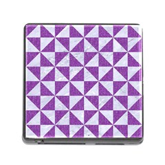 Triangle1 White Marble & Purple Denim Memory Card Reader (square) by trendistuff