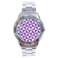 Triangle1 White Marble & Purple Denim Stainless Steel Analogue Watch