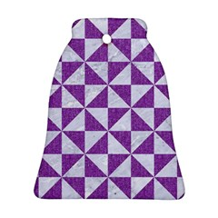 Triangle1 White Marble & Purple Denim Bell Ornament (two Sides)