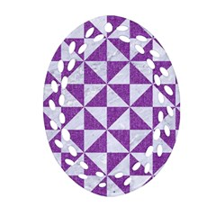 Triangle1 White Marble & Purple Denim Oval Filigree Ornament (two Sides)
