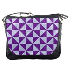 Triangle1 White Marble & Purple Denim Messenger Bags