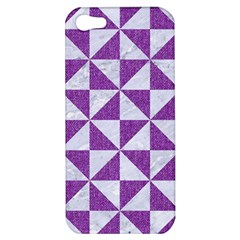 Triangle1 White Marble & Purple Denim Apple Iphone 5 Hardshell Case