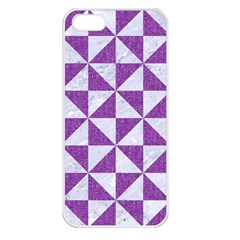Triangle1 White Marble & Purple Denim Apple Iphone 5 Seamless Case (white)