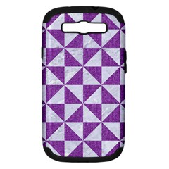Triangle1 White Marble & Purple Denim Samsung Galaxy S Iii Hardshell Case (pc+silicone)
