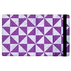 Triangle1 White Marble & Purple Denim Apple Ipad 2 Flip Case