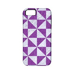 Triangle1 White Marble & Purple Denim Apple Iphone 5 Classic Hardshell Case (pc+silicone)