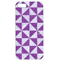 Triangle1 White Marble & Purple Denim Apple Iphone 5 Hardshell Case With Stand