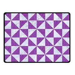 Triangle1 White Marble & Purple Denim Double Sided Fleece Blanket (small)