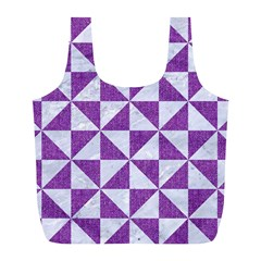 Triangle1 White Marble & Purple Denim Full Print Recycle Bags (l)