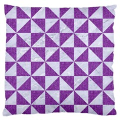 Triangle1 White Marble & Purple Denim Large Flano Cushion Case (two Sides) by trendistuff